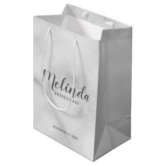 Classy Elegant Marble Personalized Bridesmaids Medium Gift Bag