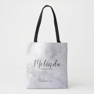 Classy Elegant Marble Personalized Bridesmaids Tote Bag
