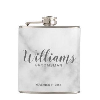 Classy Elegant Marble Personalized Groomsmen Hip Flask