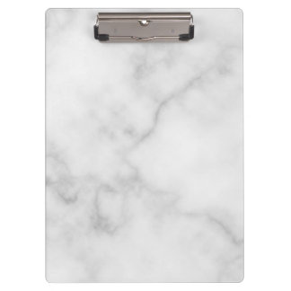 Classy Elegant White Marble Pattern Clipboard