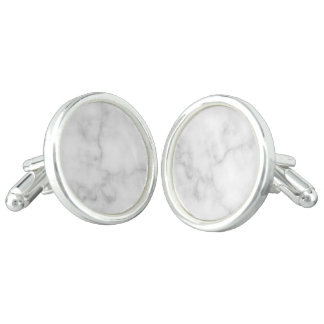 Classy Elegant White Marble Pattern Cuff Links