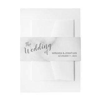Classy Elegant White Marble Wedding Invitation Belly Band
