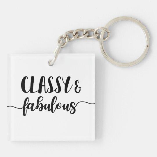 Classy & Fabulous Double-Sided Square Acrylic Key Ring