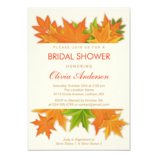 Classy Fall Maple Leaves | Autumn Bridal Shower 13 Cm X 18 Cm Invitation Card