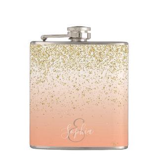 Classy faux gold confetti blush gradient image hip flask