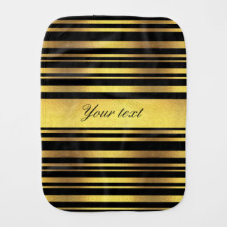 Classy Faux Gold Foil and Black Stripes Baby Burp Cloths