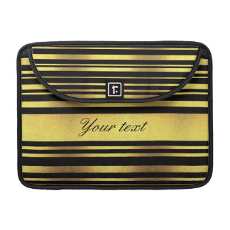 Classy Faux Gold Foil and Black Stripes MacBook Pro Sleeve