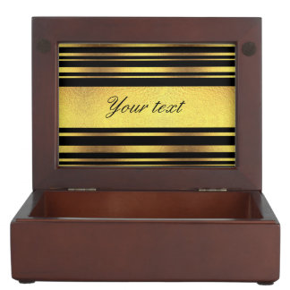 Classy Faux Gold Foil and Black Stripes Memory Boxes