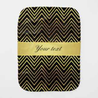 Classy Faux Gold Foil Chevrons Baby Burp Cloths