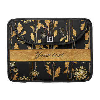 Classy Faux Gold Foil Flowers on Black Sleeve For MacBooks
