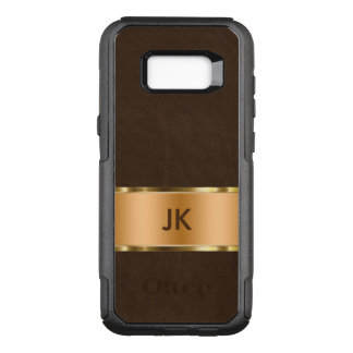 Classy Faux Leather Gold Monogram OtterBox Commuter Samsung Galaxy S8+ Case