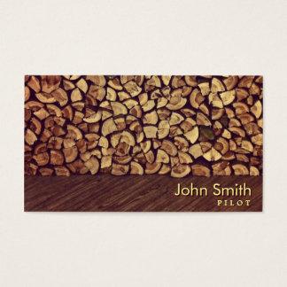 Classy Firewood Pilot/Aviator Business Card