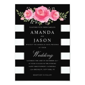Classy Floral stripes modern wedding invitation