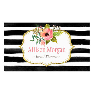 Classy Floral Watercolor Black White Striped Pack Of Standard Business Cards