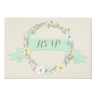 Classy Floral Wreath and Banner RSVP 9 Cm X 13 Cm Invitation Card
