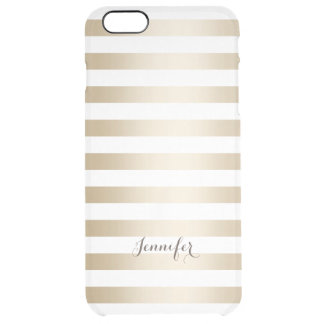 Classy Foil Gold Stripes with Name Modern Clear iPhone 6 Plus Case