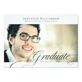 Classy Formal Elegant Script Graduate 13 Cm X 18 Cm Invitation Card