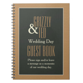 Classy Framed Brown Bear Gay Wedding Guestbook Spiral Notebook