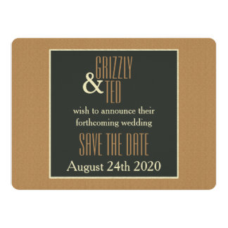 Classy Framed Brown Bear Save the Date Invitation
