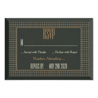 Classy Framed Gay Bear Wedding RSVP Card