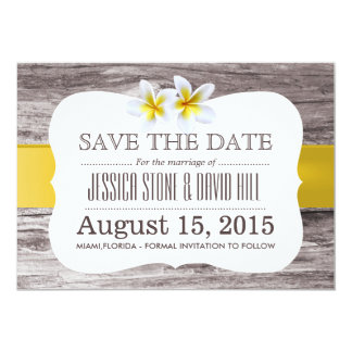 Classy Frangipani Flowers Wood Save the Date Card