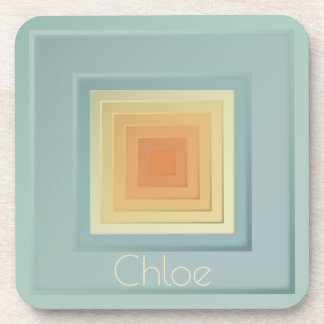 Classy Geometric Squares (light blue & yellow) Coaster