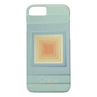 Classy Geometric Squares (light blue & yellow) iPhone 8/7 Case