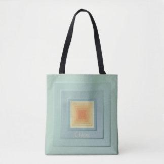 Classy Geometric Squares (light blue & yellow) Tote Bag