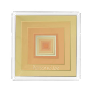 Classy Geometric Squares (soft yellows & orange) Acrylic Tray