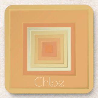 Classy Geometric Squares (soft yellows & orange) Coaster