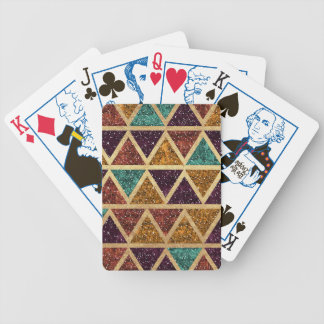 Classy Glitter Triangles Gold Foil Bicycle Playing Cards