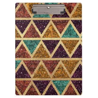 Classy Glitter Triangles Gold Foil Clipboard