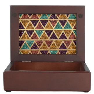 Classy Glitter Triangles Gold Foil Keepsake Box