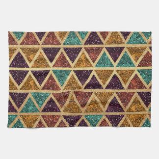 Classy Glitter Triangles Gold Foil Kitchen Towel