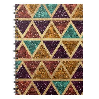 Classy Glitter Triangles Gold Foil Notebooks