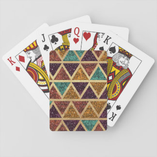 Classy Glitter Triangles Gold Foil Playing Cards