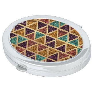 Classy Glitter Triangles Gold Foil Vanity Mirrors