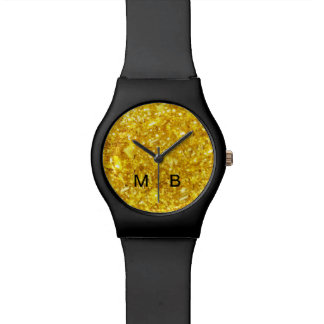 Classy Gold And Black Monogram Wrist Watches