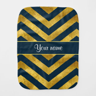 Classy Gold and Navy Blue Chevrons Baby Burp Cloths