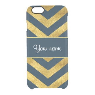 Classy Gold and Navy Blue Chevrons Clear iPhone 6/6S Case