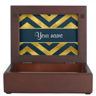 Classy Gold and Navy Blue Chevrons Keepsake Box
