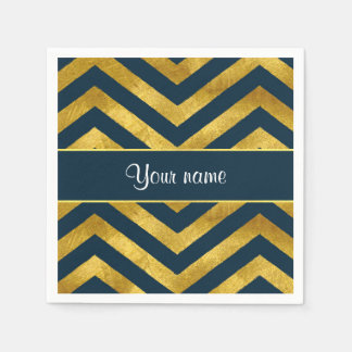 Classy Gold and Navy Blue Chevrons Paper Napkin