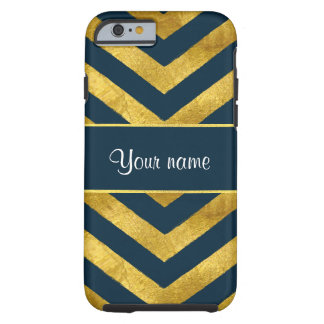 Classy Gold and Navy Blue Chevrons Tough iPhone 6 Case