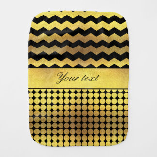 Classy Gold Black Chevrons Polka Dots Burp Cloth