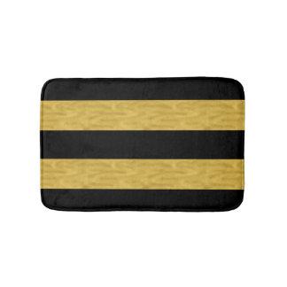 Classy Gold & Black Striped Bath mat Bath Mats