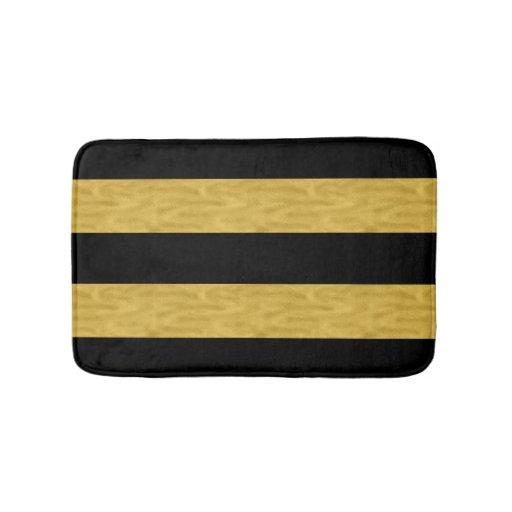 Classy Gold Amp Black Striped Bath Mat Bath Mats Zazzle