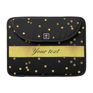 Classy Gold Confetti Black MacBook Pro Sleeves