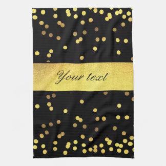 Classy Gold Confetti Black Tea Towel