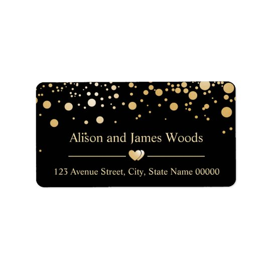 Classy Gold Confetti Dots Black Wedding Decor Label
