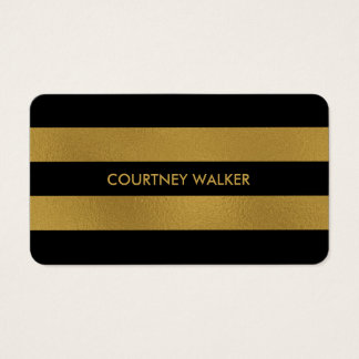 Classy gold foil and black stripe business cards